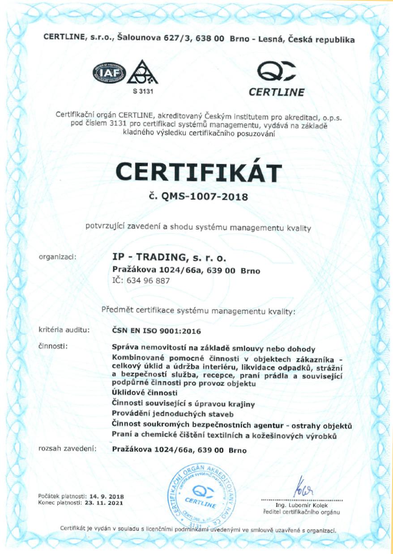 Certifikát ISO 9001 - 2015