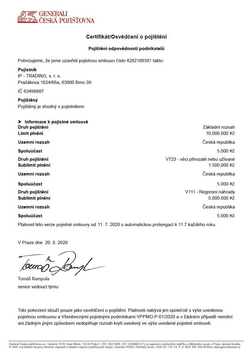 certifikat odpovednost